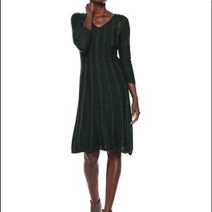 Nine West Forest Green Cable Knit Sweater Dress